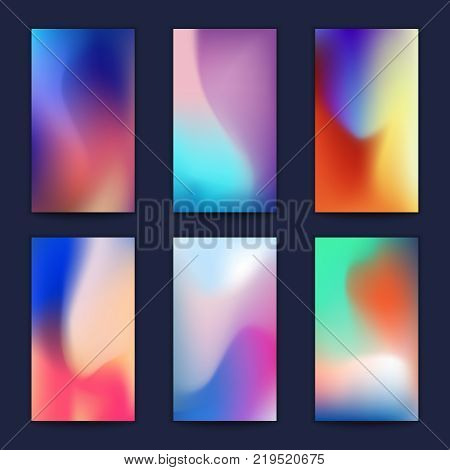 Abstract fluid 3d shapes vector trendy liquid colors backgrounds set. Banner and poster with colored fluid graphic composition illustration