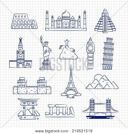 Ballpoint drawing international country linear landmark vector on notebook page. Landmark ballpoint famous monument, and architecture illustration