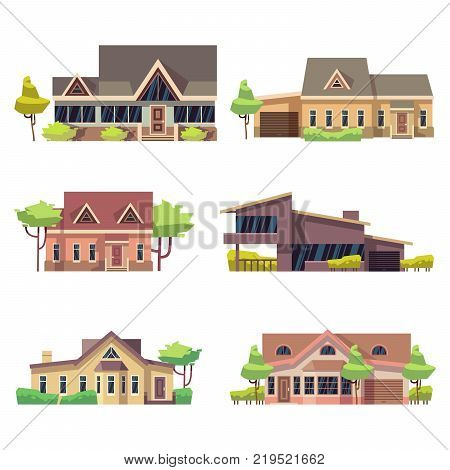 Private residential cottage houses icons. Colored flat vector illustration. Home building cottage collection