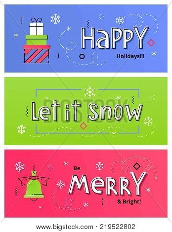 Set of Christmas social media banners with gift boxes, Christmas bell and hand drawn letters. Vector illustrations for website and mobile banners, internet marketing and printed material design