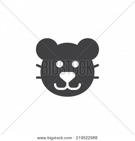 Puma head icon vector, filled flat sign, solid pictogram isolated on white. Cougar face symbol, logo illustration.