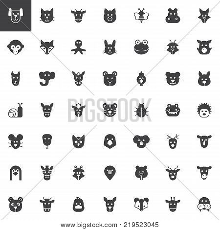 Animal head vector icons set, modern solid symbol collection, filled style pictogram pack. Signs, logo illustration. Set includes icons as  face, insects, bird, marine pets, fauna, nature