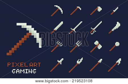 Set of vector pixel art tools icons. Axe, pick, sword, hoe, lance, knife - isolated game design inventory illustration on dark blue background