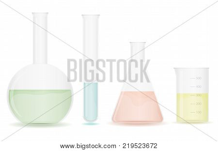 A set of chemical flasks for experiments. Chemical flasks with preparations. Flat design vector illustration vector.