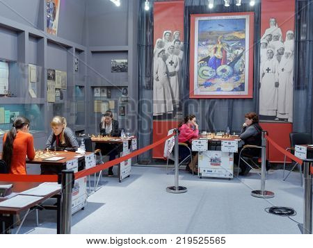 ST. PETERSBURG, RUSSIA - DECEMBER 4, 2017: Super-final matches of 67th Women's Russian Chess Championship. Museum of political history houses the event