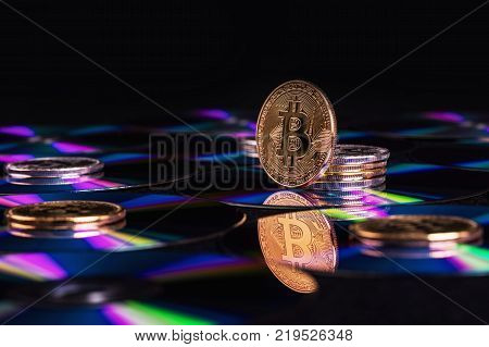 Bitcoin Virtual Currency. Trading with Bitcoin. The risk of buying a virtual currency. Crypto Currency background concept