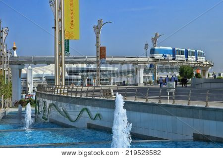 Ashgabat Turkmenistan - September 26.2017: Part of the sport complex which hosted 5 Asian Games. Asian indoor games and martial arts was held in Ashgabat Turkmenistan in 2017. From September 17 to September 27.