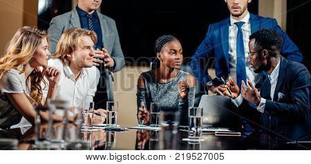 African Female team leader on Meeting Discussion Talking in office conference room