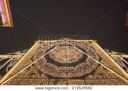 New Year and Christmas decoration with lights pannel in Moscow