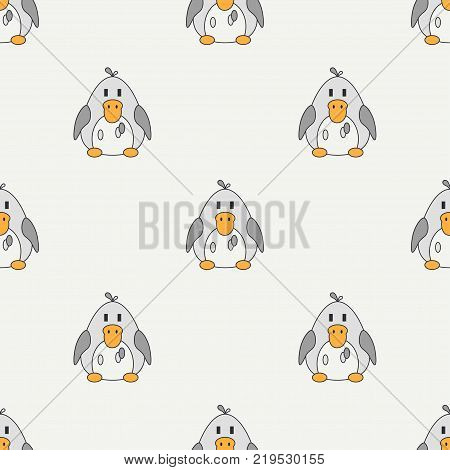 Flat line color vector seamless pattern cute animal for baby products - duck. Cartoon style. Childrens doodle. Babyhood. Newborn. Vector illustration, element for design, wallpaper. Kids toy. Farm