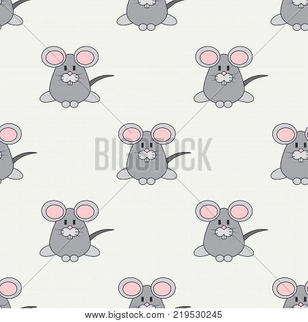 Flat line color vector seamless pattern cute animal for baby products - mouse. Cartoon style. Childrens doodle. Babyhood. Newborn. Vector illustration, element for design, wallpaper. Kids toy. Farm.