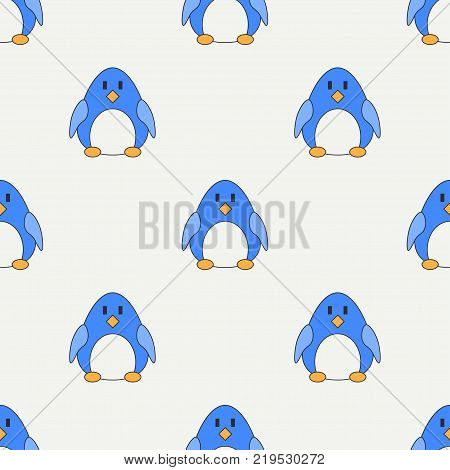 Flat line color vector seamless pattern cute animal for baby products - penguin. Cartoon style. Childrens doodle art. Babyhood. Newborn. Vector illustration, element for design, wallpaper. Kids toy.