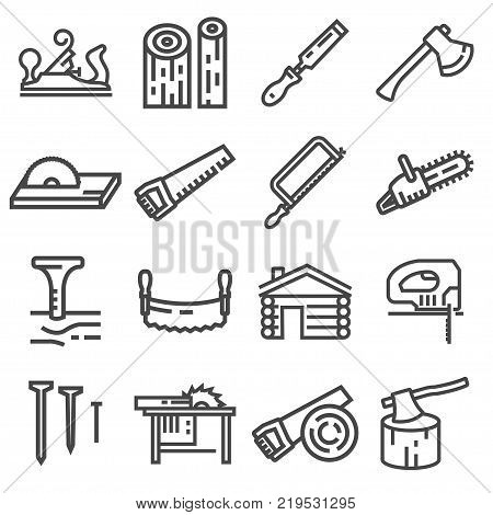 Carpentry wood work tools and equipment line icons set isolated vector illustration