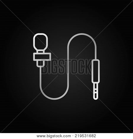 Lapel microphone line gray icon. Vector body mic concept outline symbol or design element on dark background