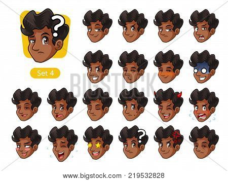 The fourth set of male facial emotions cartoon character design with curly hair and different expressions, happy, bored, scary, pervy, uptight, disgust, amaze, silly, mad, etc. vector illustration.