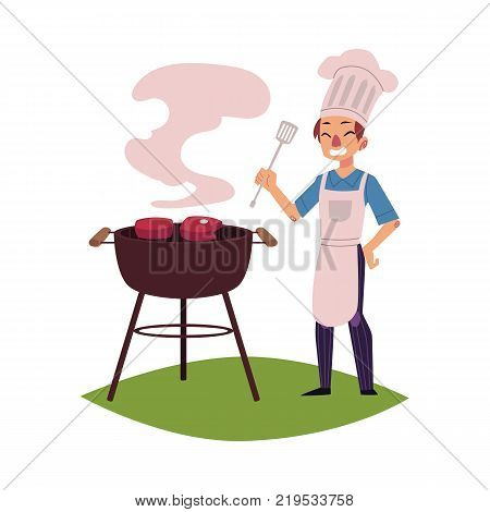 Happy man in chef hat and apron roasting meat on barbecue grill, holding turner, cartoon vector illustration isolated on white background. Happy young Caucasian chef cooking steaks on barbecue grill
