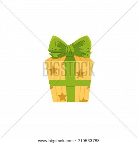 Birthday present, Christmas gift wrapped in yellow paper and tied with green bow, cartoon vector illustration isolated on white background. Birthday, Christmas present, gift in yellow box with green bow