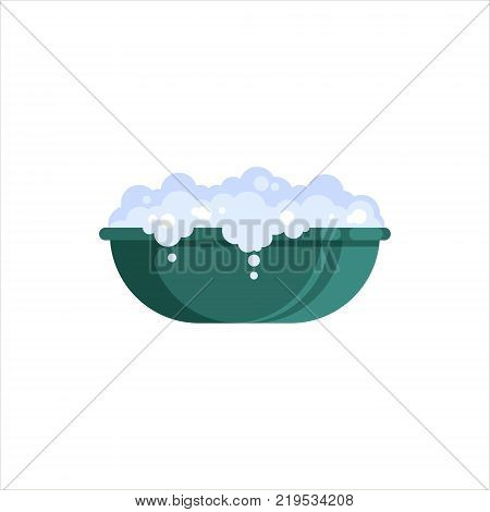 Flat plastic basin with soap foam isolated on white background. Washbowl with suds, household cleaning equipment for washing vector illustration.
