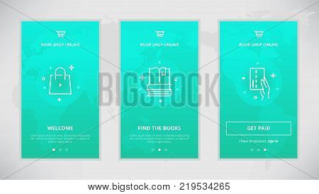 Onboarding design concept for book shop online. Modern vector outline mobile app design set of book shopping. Onboarding screens for books buying online