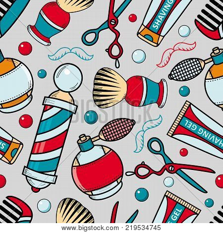 Seamless pattern with barber tools - razor, shaving brush, hair comb, lotion and barbershop pole, cartoon vector illustration on grey background. Seamless pattern, background with barbershop items
