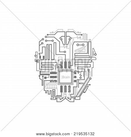 Robot brain shown as digital circuit scheme, artificial intelligence concept, flat style vector illustration isolated on white background. Android, cyborg, robot brain circuit, artificial intelligence