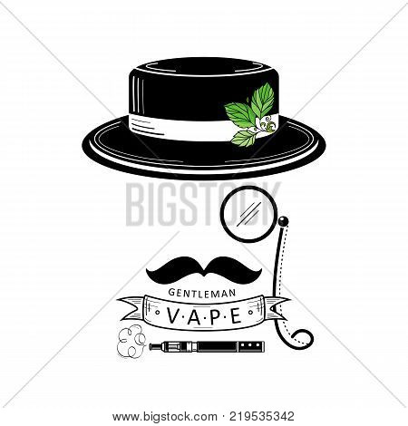 Retro vape shop logo design with male hat, nose glasses, gentleman mustache, vaporizer and decorative ribbon, vector illustration isolated on white background. Vape shop logo with stylized gentleman