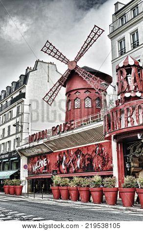 Paris France - September 10 2017: Moulin Rouge cabaret Paris - hdr view from the Boulevard de Clichy.