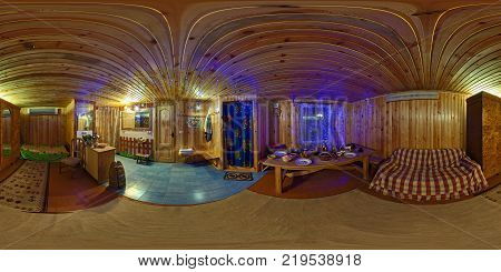 GRODNO BELARUS - OCTOBER 5 2011: Full 360 degree seamless panorama in equirectangular spherical projection. Panorama in interior of wooden cafe in vintage folk style in russian bath