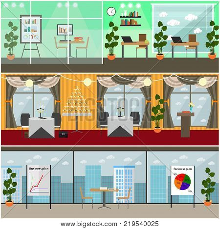 Vector set of business posters, banners. Modern office space interior with office furniture and equipment and restaurant interior. Flat style design.