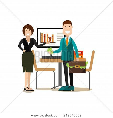 Business conference concept vector Illustration. Woman pointing at graph and successful man with paper money. Business people meeting flat style design elements, icons isolated on white background.