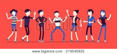 Young happy people. Friends feeling great pleasure or joy meeting together, have a good free time, vacation enjoyment and amusement. Vector illustration with faceless characters