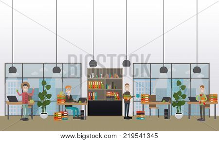 Vector illustration of professional creative team working on business project. Office room interior with office supplies and equipment. Flat style design.
