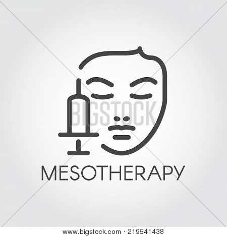 Face mesotherapy line icon. Medical or beauty treatment for skin care, rejuvenation, anti-aging concept contour label. Cosmetology, dermatology procedure outline symbol. Vector illustration