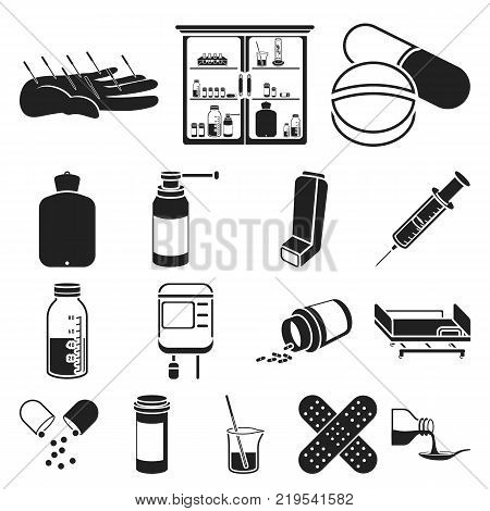 Medicine and treatment black icons in set collection for design. Medicine and equipment vector symbol stock  illustration.