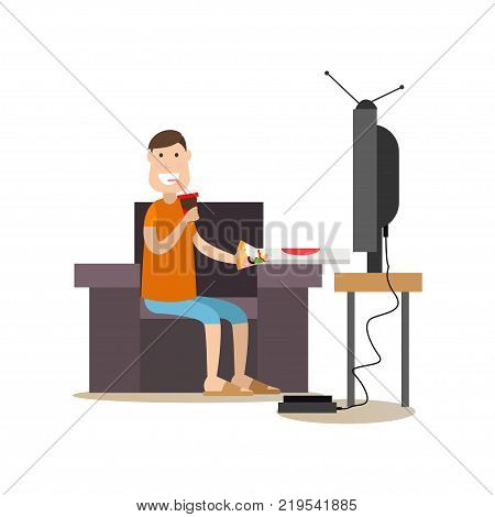 Vector illustration of man eating pizza and drinking cola while watching tv at home. Takeaway food or home delivery concept. Food people flat style design element, icon isolated on white background.