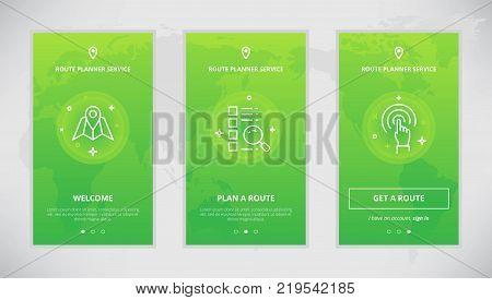 Onboarding design concept for route planner service. Modern vector outline mobile app design set of route planner services. Onboarding screens for route planning online