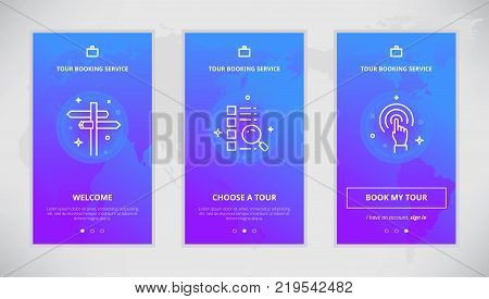Onboarding design concept for tour booking service. Modern vector outline mobile app design set of tour booking services. Onboarding screens for tour booking on-line