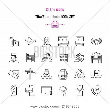 Line icon set of travel and hotel services elements. Modern design icons for web and app design and development
