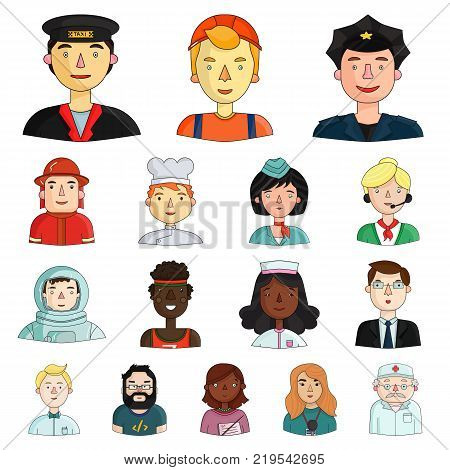 People of different professions cartoon icons in set collection for design. Worker and specialist vector symbol stock  illustration.