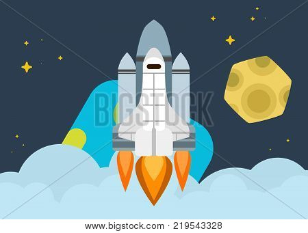 space shuttle soars into orbit earth bright illustration vector work
