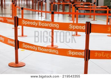 Paris, France - September 28, 2013: Speedy Boarding way in the airport
