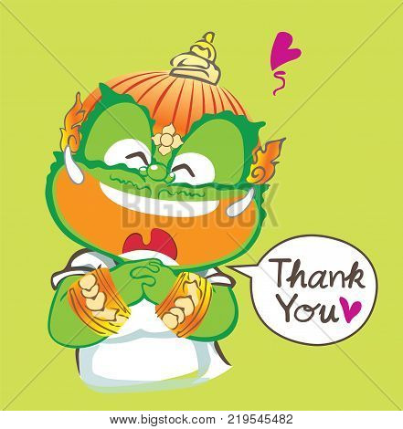 Thai giant saying Thank you and smiling he very be happy vector cartoon acting character design isolate background lemon color has clipping paths.