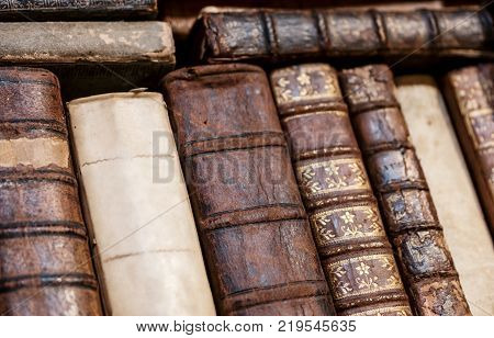bookshelf with Old books in at a library. ideal for websites and magazines layouts