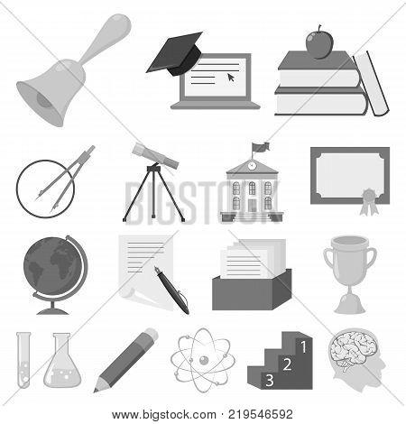 School and education monochrome icons in set collection for design.College, equipment and accessories vector symbol stock  illustration.