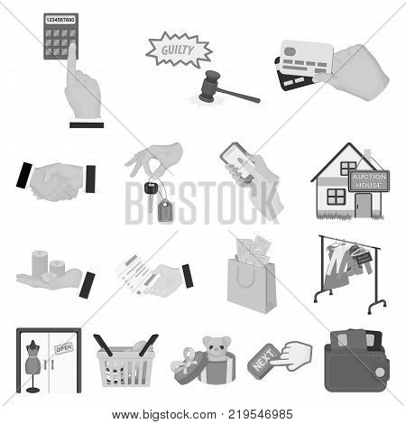 E-commerce and business monochrome icons in set collection for design. Buying and selling vector symbol stock illustration.