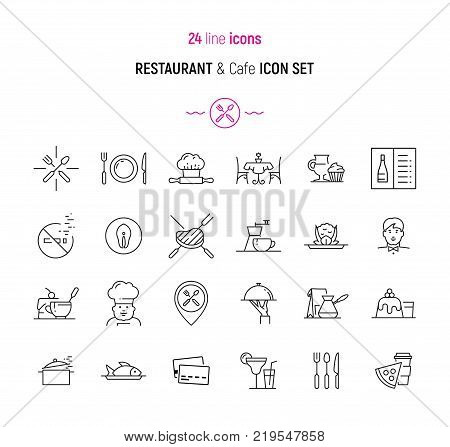 Line icon set of restaurant, cafe and bar elements. Modern design icons for web and app design and development