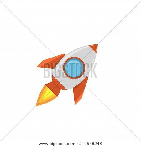 Cartoon rocket space ship. Start-up concept, Vector illustration