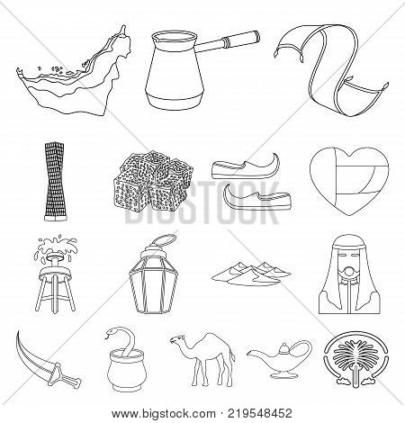 Country United Arab Emirates outline icons in set collection for design. Tourism and attraction vector symbol stock  illustration.