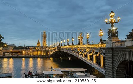 View from the Alexandre III Bridge at night to paris. ideal for websites and magazines layouts
