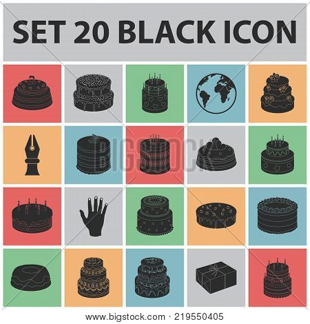 Cake and dessert black icons in set collection for design. Holiday cake vector symbol stock  illustration.